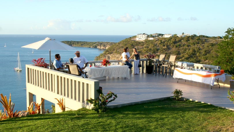 This is the terrace over the Spa at Villa Vieux Fort. Cocktails were served here and sometimes light supper as the sun goes down.