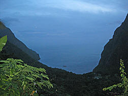Descending into the Valle des Pitons at night.